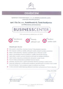 Certifikát BC 2019